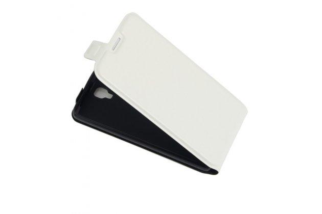 Фирменный оригинальный вертикальный откидной чехол-флип для ZTE Blade L5 Plus / ZTE Blade L5  белый из натуральной кожи Prestige Италия