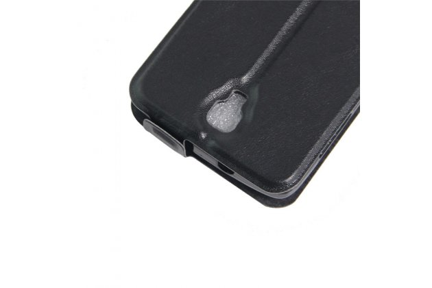 Фирменный оригинальный вертикальный откидной чехол-флип для ZTE Blade L5 Plus / ZTE Blade L5  черный из натуральной кожи Prestige Италия