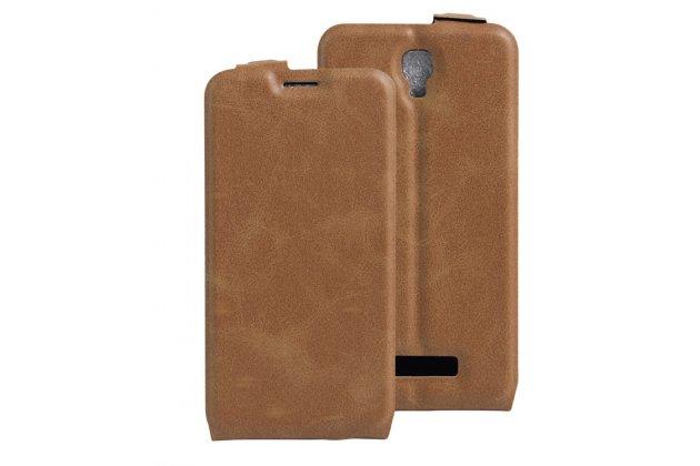 Фирменный оригинальный вертикальный откидной чехол-флип для  ZTE Blade L5 Plus / ZTE Blade L5  коричневый из натуральной кожи Prestige Италия