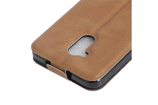 Фирменный оригинальный вертикальный откидной чехол-флип для ZTE Blade V7 Lite (BV0720) коричневый из натуральной кожи Prestige