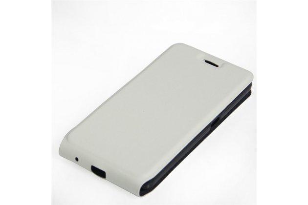 Фирменный оригинальный вертикальный откидной чехол-флип для ZTE Blade V7 Lite (BV0720) белый из натуральной кожи Prestige