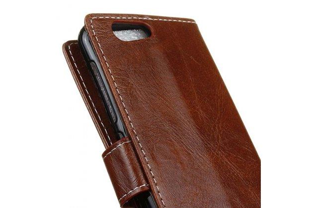 Фирменный чехол-книжка из качественной импортной кожи с застёжкой и мультиподставкой для ZTE Blade Z10 5.2 коричневый
