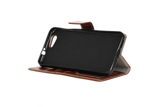 Фирменный чехол-книжка из качественной импортной кожи с застёжкой и мультиподставкой для ZTE Blade Z10 5.2 черный