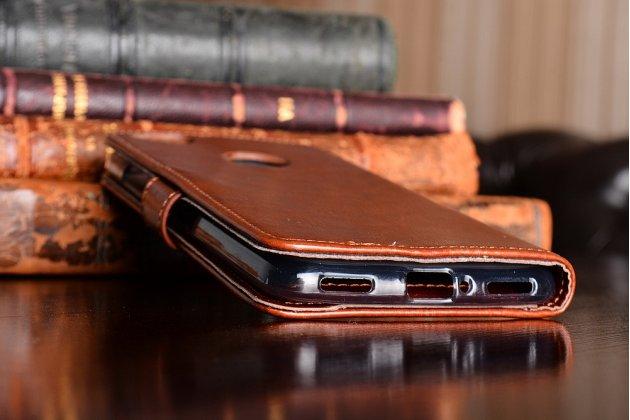 Фирменный премиальный  чехол-книжка из качественной импортной кожи с подставкой застёжкой и визитницей для ZTE Nubia N1 коричневый