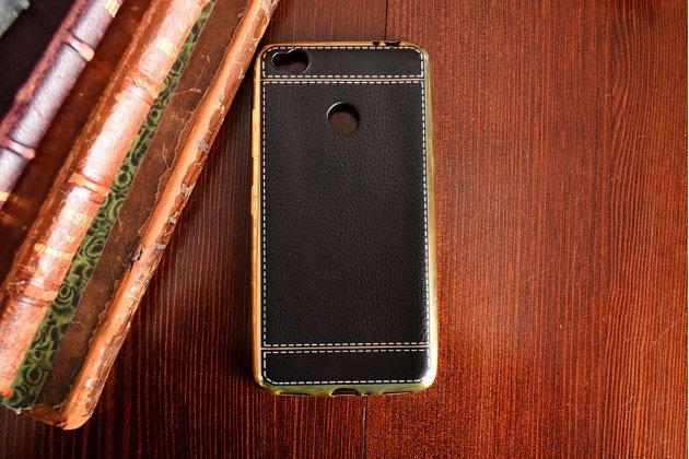Фирменная премиальная элитная крышка-накладка на ZTE Nubia N1 черная из качественного силикона с дизайном под кожу