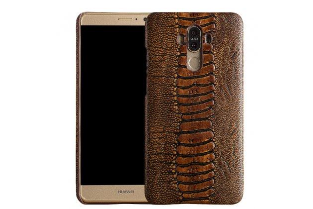 Фирменная роскошная эксклюзивная накладка с объёмным 3D изображением рельефа кожи крокодила коричневая для ZTE Nubia N1. Только в нашем магазине. Количество ограничено