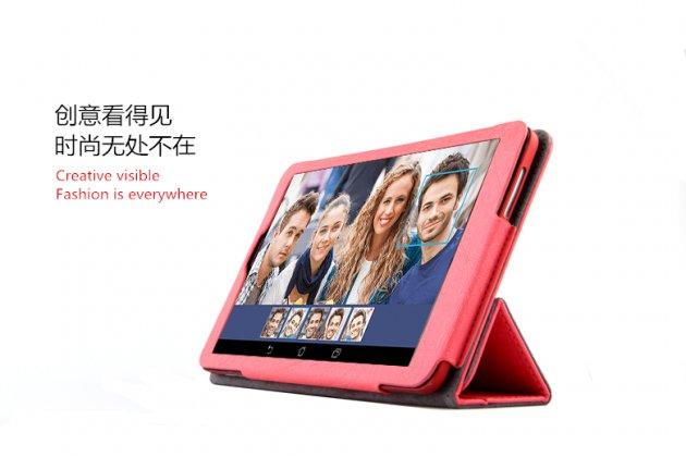 Фирменный чехол-футляр-книжка с узором для Dell Venue 8 android 3830 красный кожаный