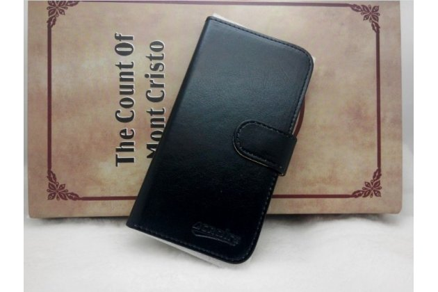 Фирменный чехол-книжка из качественной импортной кожи с подставкой застёжкой и визитницей для CUBOT C9+  / C9W черный
