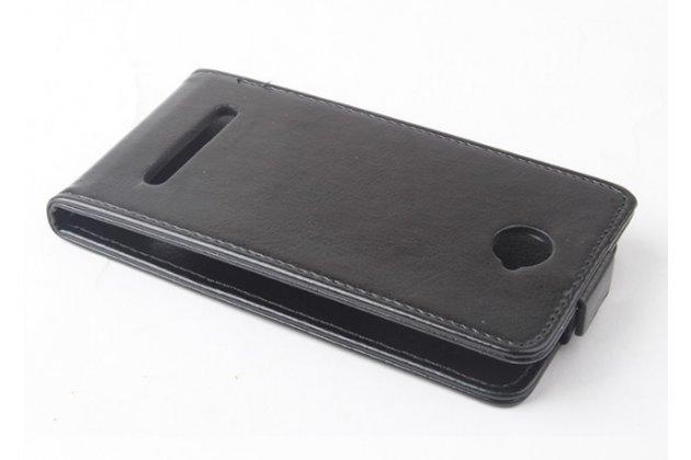 Фирменный оригинальный вертикальный откидной чехол-флип для CUBOT C9+/ C9W  черный из натуральной кожи Prestige Италия