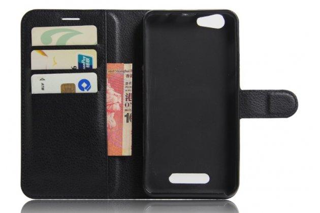 Фирменный чехол-книжка для Cubot Note S с визитницей и мультиподставкой черный кожаный
