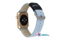 Фирменный сменный ремешок-лямка для Apple Watch Series 2 38/42mm из настоящей джинсы с кожаными вставками