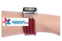 Роскошный безумно красивый жемчужный ремешок на Apple Watch Series 2 38/42mm украшенный бусинками и кристаликами из кварцевого стекла с дизайном «Гранат»