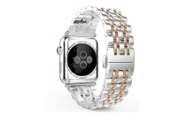 """Элегантный титановый сменный стальной ремешок для умных смарт-часов Apple Watch Series 2 / 3 украшенный цветными звеньями """"Розовое золото"""""""