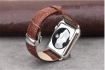 Роскошный эксклюзивный ремешок кожи крокодила коричневый для Умные смарт-часы Apple Watch 42mm