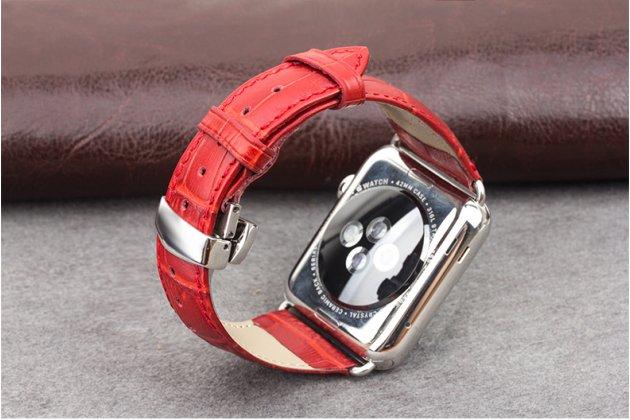 Роскошный эксклюзивный ремешок с изображением рельефа кожи крокодила красный для Apple Watch 42mm