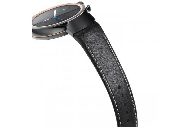 Фирменный премиальный элитный ремешок из качественной импортной кожи для ASUS ZenWatch 3 (WI503Q) с дизайном «Ретро под старину» с белой прострочкой 14 мм