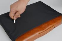 Фирменный оригинальный чехол-клатч-сумка с визитницей для Xiaomi Mi Notebook Air 12.5 из качественной импортной кожи коричневого цвета