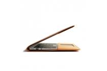 Фирменный чехол-обложка для Xiaomi Mi Notebook Air 12.5 коричневого цвета из импортной кожи