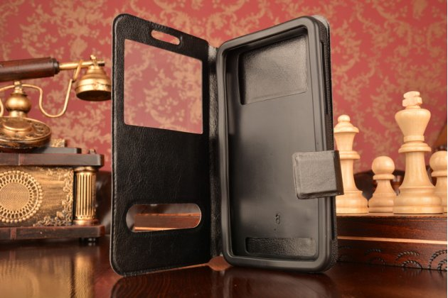 Чехол-футляр для Prestigio Muze A5 с двумя окошками для входящих вызовов и свайпом из импортной кожи с внутренним защитным силиконовым бампером. Цвет в ассортименте.
