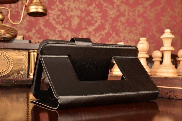 Чехол-футляр для Prestigio MultiPhone 3502 DUO с двумя окошками для входящих вызовов и свайпом из импортной кожи с внутренним защитным силиконовым бампером. Цвет в ассортименте.