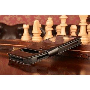 Чехол-футляр для Elephone S3 с двумя окошками для входящих вызовов и свайпом из импортной кожи с внутренним защитным силиконовым бампером. Цвет в ассортименте.