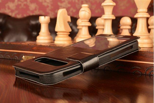Чехол-футляр для HTC One E8 с двумя окошками для входящих вызовов и свайпом из импортной кожи с внутренним защитным силиконовым бампером. Цвет в ассортименте.