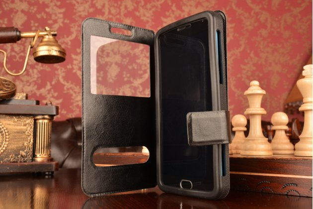 Чехол-футляр для Huawei Ascend G6 с двумя окошками для входящих вызовов и свайпом из импортной кожи с внутренним защитным силиконовым бампером. Цвет в ассортименте.