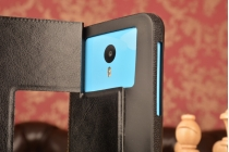 Чехол-футляр для InFocus M512 с двумя окошками для входящих вызовов и свайпом из импортной кожи с внутренним защитным силиконовым бампером. Цвет в ассортименте.