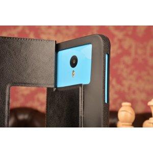 Чехол-футляр для Meizu Pro 6 mini с двумя окошками для входящих вызовов и свайпом из импортной кожи с внутренним защитным силиконовым бампером. Цвет в ассортименте.