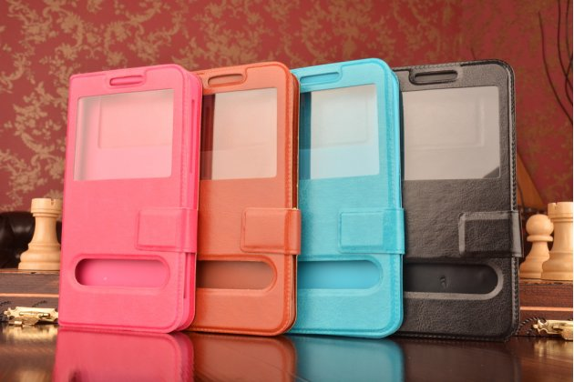 Чехол-футляр для Samsung Galaxy S4 Zoom SM-C101 с двумя окошками для входящих вызовов и свайпом из импортной кожи с внутренним защитным силиконовым бампером. Цвет в ассортименте.