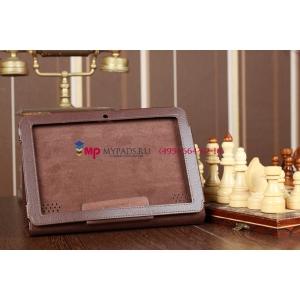 Фирменный чехол-обложка для Acer Iconia Tab A210/A211 коричневый кожаный