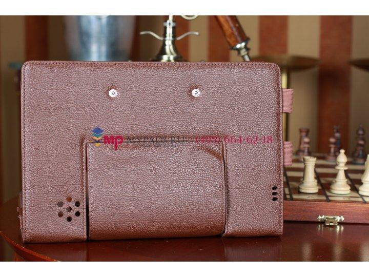 Чехол для Asus Padfone 1 A66 коричневый с секцией под клавиатуру кожаный..