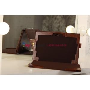 Фирменный чехол для Asus VivoTab RT TF600T/TF600TG коричневый с секцией под клавиатуру кожаный