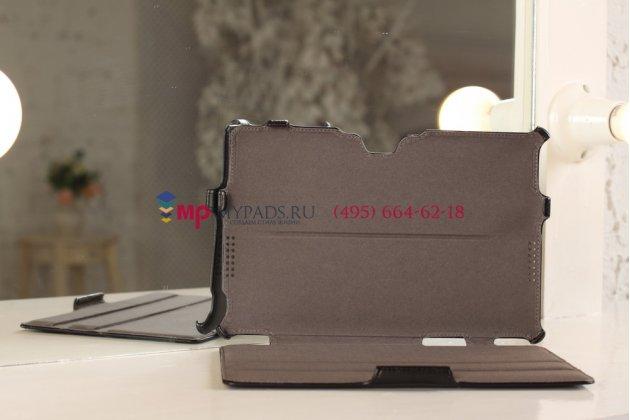 """Фирменный чехол открытого типа без рамки вокруг экрана с мульти-подставкой для Asus VivoTab RT TF600T/TF600TG черный кожаный """"Deluxe"""""""
