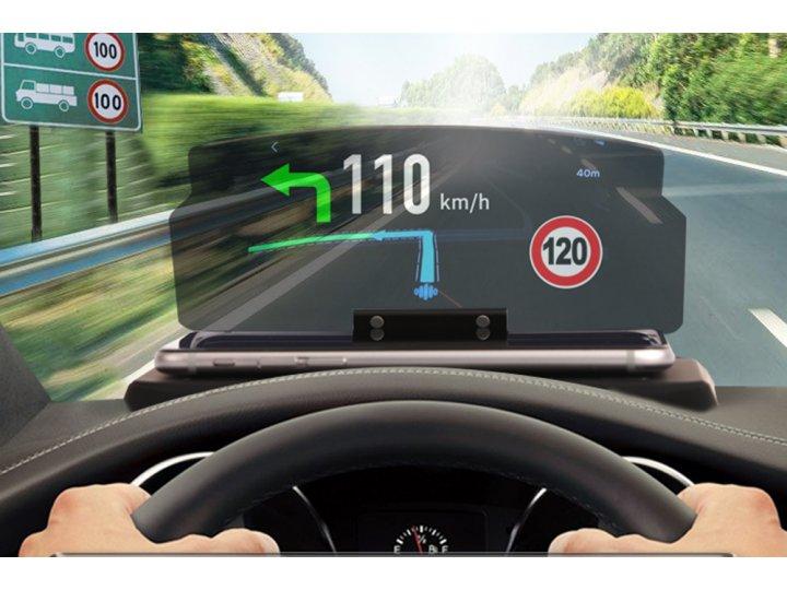 Автомобильная проекционная HUD подставка с зеркальным отображением экрана телефона с нескользящей поверхностью..