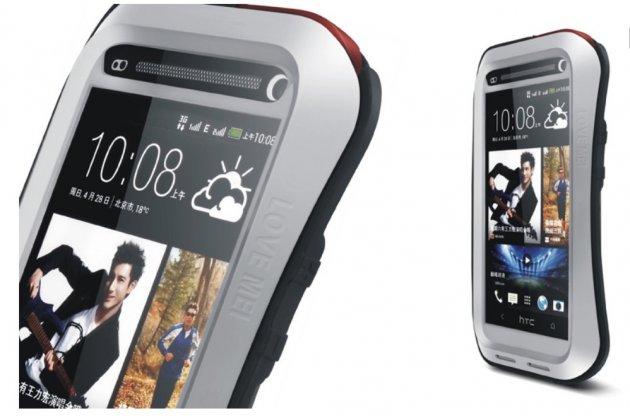Неубиваемый водостойкий противоударный водонепроницаемый грязестойкий влагозащитный ударопрочный фирменный чехол-бампер для HTC One M7 (801) цельно-металлический со стеклом Gorilla Glass
