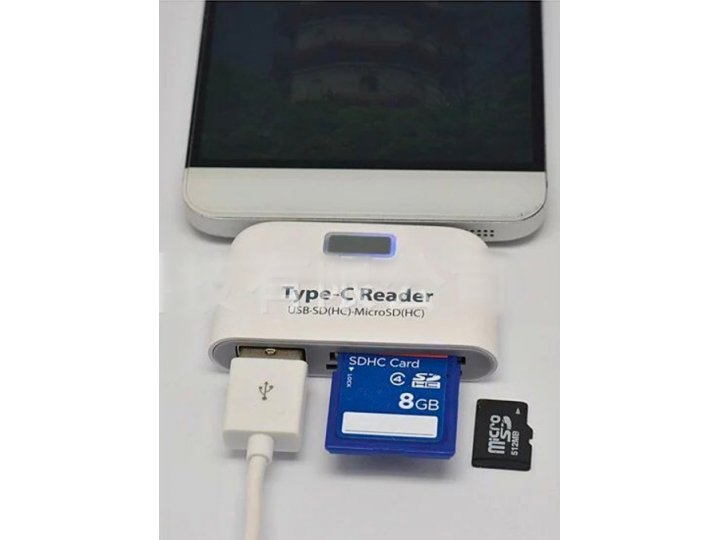 USB переходник + разъем для карт памяти (картридер) подходит для всех видов мобильных телефонов и планшетов