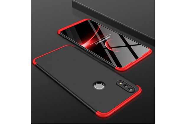 """Фирменный уникальный чехол-бампер-панель с полной защитой дисплея и телефона по всем краям и углам для Huawei Honor 8X (JSN-L21) 6.5"""" черный с красной окантовкой"""