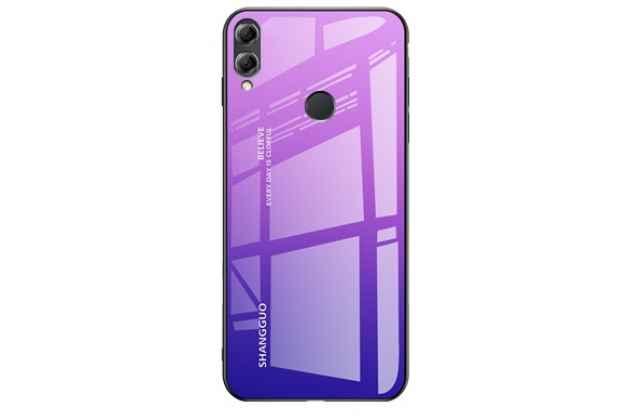 """Фирменный ультра-тонкий силиконовый чехол-бампер для Huawei Honor 8X (JSN-L21) 6.5"""" с закаленным стеклом на заднюю крышку телефона градиент фиолетовый"""