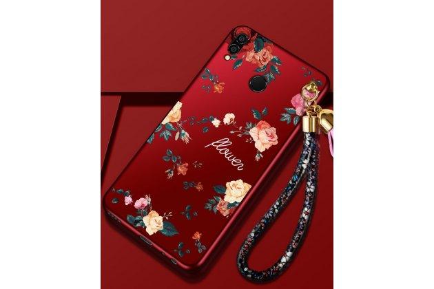 """Фирменная ультра-тонкая полимерная из мягкого качественного силикона задняя панель-чехол-накладка для Huawei Honor 8X (JSN-L21) 6.5"""" красная с изображением """"Розы"""""""