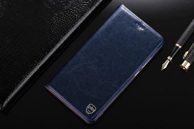 """Фирменный чехол-книжка из качественной импортной кожи с мульти-подставкой и визитницей для Huawei Honor 8X (JSN-L21) 6.5"""" темно-синий"""