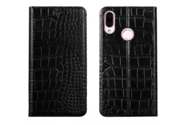 """Фирменный роскошный эксклюзивный чехол с фактурной прошивкой рельефа кожи крокодила и визитницей черный для Huawei Honor 8X (JSN-L21) 6.5"""". Только в нашем магазине. Количество ограничено"""