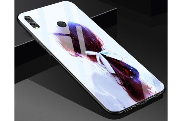 """Фирменный ультра-тонкий силиконовый чехол-бампер для Huawei Honor 8X (JSN-L21) 6.5"""" с закаленным стеклом на заднюю крышку телефона с изображением """"Девушка"""""""