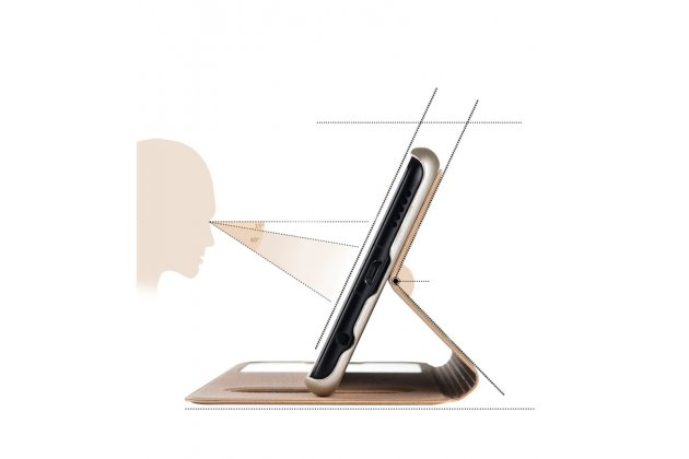 """Фирменный чехол-книжка для Huawei Honor 8X (JSN-L21) 6.5"""" золотой с окошком для входящих вызовов и свайпом водоотталкивающий"""