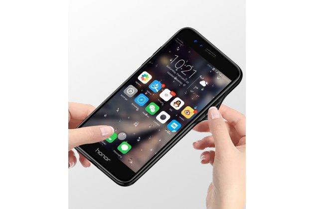 """Фирменный ультра-тонкий силиконовый чехол-бампер для Huawei Honor 8X (JSN-L21) 6.5"""" с закаленным стеклом на заднюю крышку телефона с изображением """"Звездопад"""""""