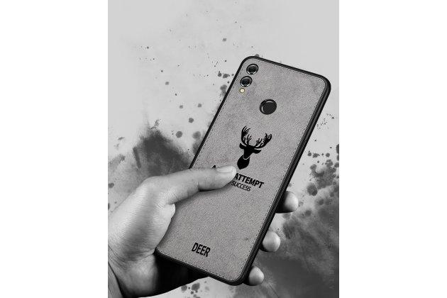 """Фирменная роскошная задняя панель-чехол-накладка из мягкого силикона и ткани с 3D изображением на Huawei Honor 8X (JSN-L21) 6.5"""" с безумно красивым рисунком тематика """"Олень"""" серый"""