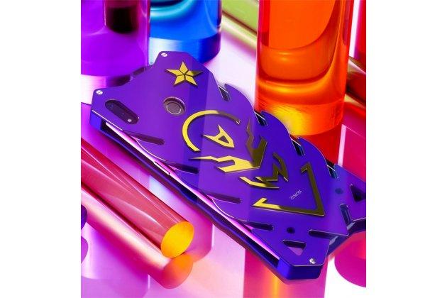"""Противоударный металлический чехол-бампер из цельного куска металла с усиленной защитой углов и необычным экстремальным дизайном  для Huawei Honor 8X (JSN-L21) 6.5"""" фиолетового цвета"""
