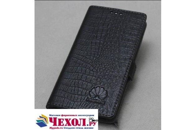 """Фирменный оригинальный подлинный чехол с логотипом для Huawei Honor 8X (JSN-L21) 6.5"""" из натуральной кожи крокодила черный"""