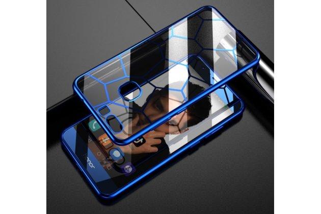 """Фирменная ультра-тонкая полимерная из мягкого качественного силикона задняя панель-чехол-накладка для Huawei Honor 8X (JSN-L21) 6.5"""" прозрачная с голубой окантовкой и рисунком"""