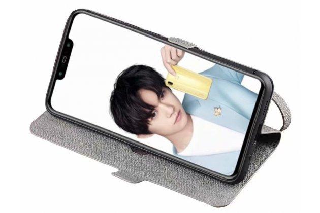 """Фирменный чехол-книжка из кожи с подставкой застёжкой и визитницей для Huawei Honor 8X (JSN-L21) 6.5"""" синий с изображением тематика """"Собачка"""""""